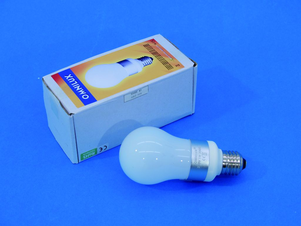 LED žárovka 230 V, 1 W, E-27, 3000 K, LED A 19