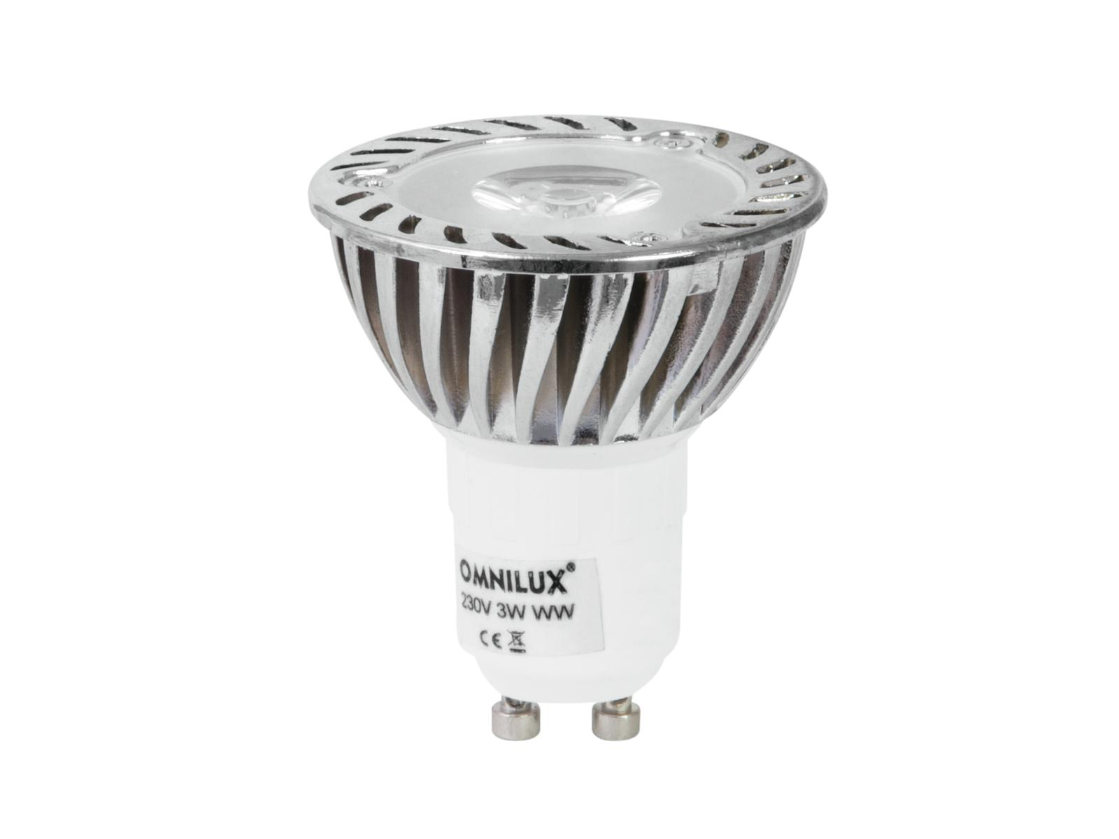 230V GU-10 3W LED Omnilux, 3000K, sv. zdroj