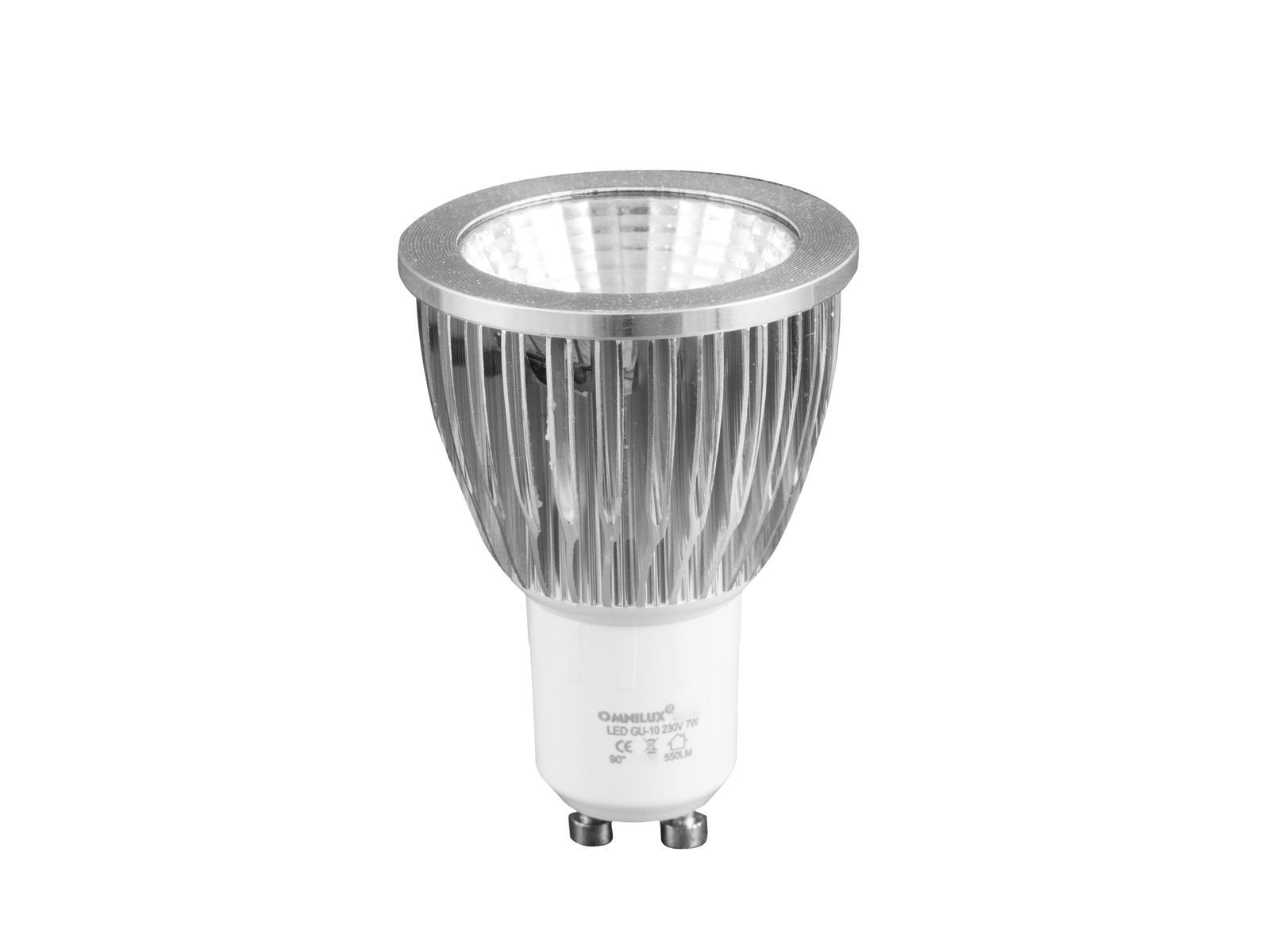 Omnilux LED žárovka GU-10 230V 7W COB 6400K, studená bílá