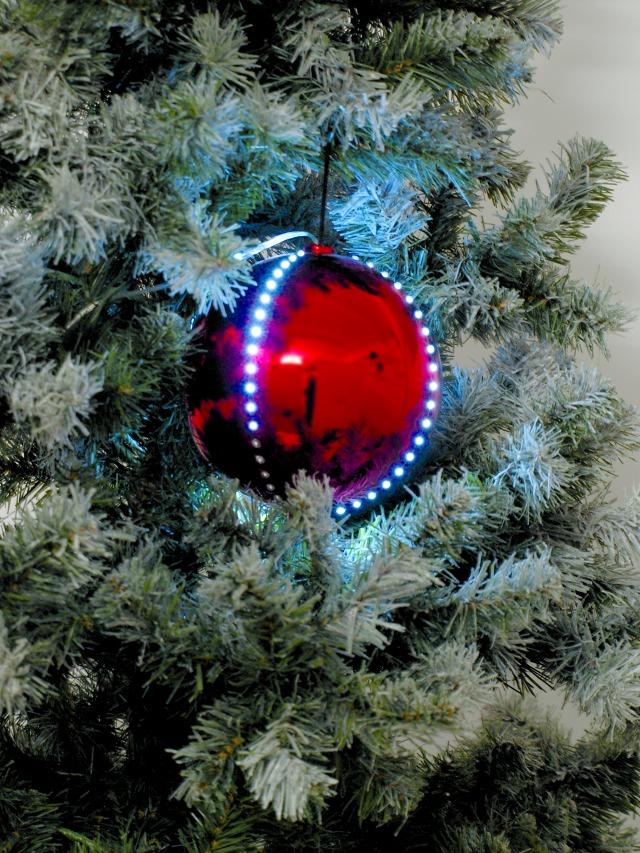 Sněhové LED koule, 8 cm, červená, 5 ks
