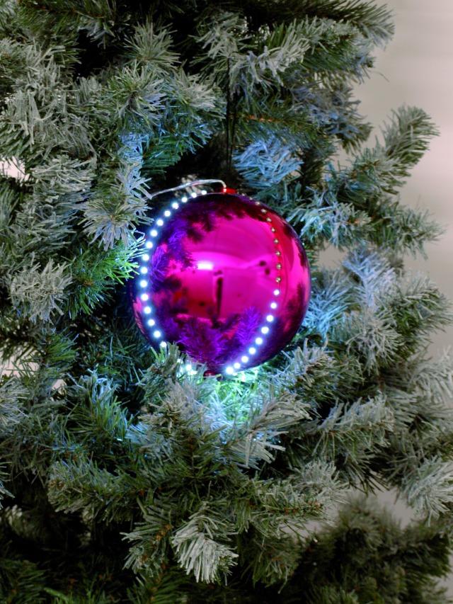 Sněhové LED koule, 8 cm, růžová, 5 ks