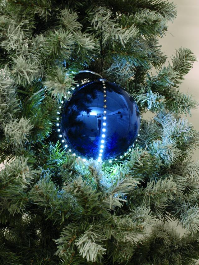 Sněhové LED koule, 8 cm, tmavě modrá, 5 ks